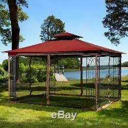 Regency Gazebo Sun Shade With Mosquito Netting 10x12 Corner Shelf Maroon Canopy