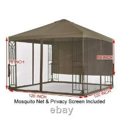 Replacement Privacy Screen Gazebo Net Planter Holders Steel Frame Square Brown