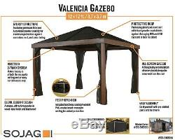 SOJAG Valencia Gazebo Wood Finish 12 x 12 ft