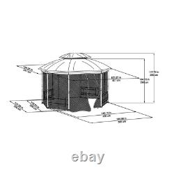 Seagrove 12 Ft. X 10 Ft. Octagonal Steel Frame Gazebo With Tan Canopy