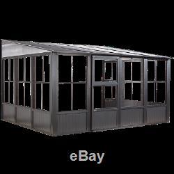 Sojag Charleston Solarium Wall Unit, 10 ft. X 13 ft. X 8.2 ft. Dark Gray