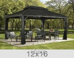Sojag Messina Steel Roof Sun Shelter 12 X 16 With Netting, NEW SHIP FROM FACTORY
