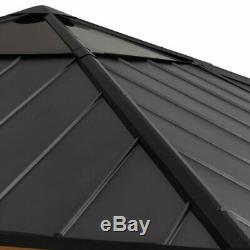 Solid Wood Patio Gazebo 10 X 10 Premium Cedar wood frame Steel roof skylight