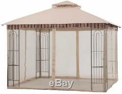 Steel Frame Gazebo with Netting 10'x 10' Tent Soft Top Polyester Fabric Canopy