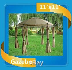 Steel Gazebo 11'x11' Deluxe Steel Frame Canopy Beige
