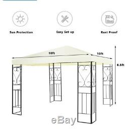 Steel Gazebo Garden Canopy Heavy Duty Large 10x10 Outdoor
