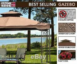 Steel Gazebo Kit Pergola Heavy Duty 11x13 Patio Metal Frame Canopy Tent Camping