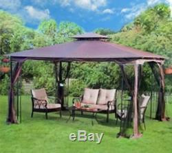 Steel Gazebo Kit Pergola Heavy Duty 11x13 Roof Patio Metal Frame Canopy Tent New