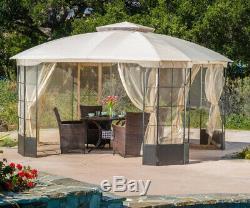 Steel Gazebo Large 13 x 13 Mosquito Mesh Screen Vented Big Outdoor Garden Canopy