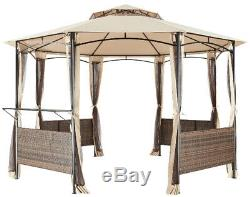 Steel Gazebo Large Canopy 13 feet Wicker Screen Mosquito Net Curtains Octagon