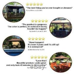 Steel Gazebo Large Pergola Heavy Duty 11 x 12 Roof Patio Metal Frame Canopy Tent