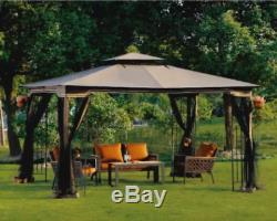 Steel Gazebo Large Pergola Tent 11 X13 Canopy Metal Frame Mosquito Netting Party