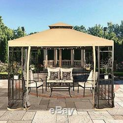 Suna outdoor 10x10 Ft Outdoor Gazebo Steel Frame Two-Tiered Top Canopy, Heart Sc