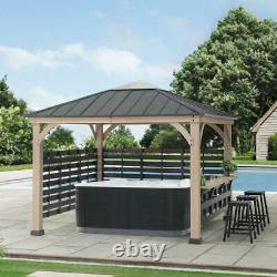 Sunjoy 11 ft. X 11 ft. Cameron Cedar Wood Framed Hot Tub Gazebo with Steel