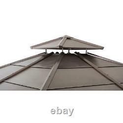 Sunjoy 11 ft. X 11 ft. Cedar Framed Gazebo with Brown Steel 2-tier Hip Roof
