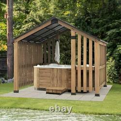 Sunjoy 11 ft. X 11 ft. Sienna Cedar Wood Framed Hot Tub Gazebo with Steel