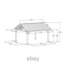 Sunjoy 12 ft. X 14 ft. Cedar Framed Gazebo with Steel Gable Roof Hardtop