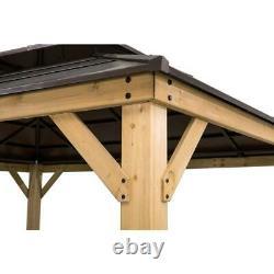 Sunjoy 13 ft. X 15 ft. Cedar Framed Gazebo with Brown Steel 2-tier Hip Roof