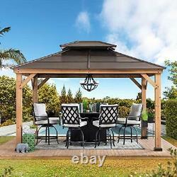 Sunjoy A102008600 Chapman 10x12 ft. Cedar Framed Gazebo with Steel 2-Tier HipRoof