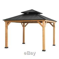 Sunjoy Archwood 10 ft. X 10 ft. Cedar Framed Gazebo with Steel Hardtop