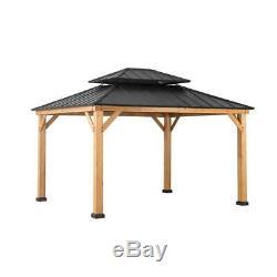 Sunjoy Archwood 12 ft. X 10 ft. Cedar Framed Gazebo with Steel Hardtop