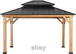 Sunjoy Bridgeport 10 X 12 Ft. Cedar Framed Gazebo With Steel Hardtop
