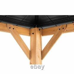 Sunjoy Bridgeport 11 x 13 ft. Cedar Framed Gazebo with Steel Hardtop, Black