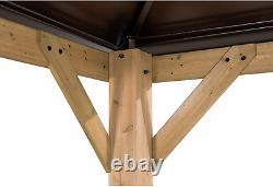 Sunjoy Chapman 13 X 15 Ft. Cedar Framed Gazebo With Steel 2-Tier Hip Roof Hardto