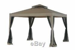 Sunjoy L-GZ098PST-1B Double Roof Weist Gazebo with Mosquito Net, 10' x 10
