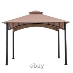 Sunjoy Patio Gazebo 11 ft. X 11 ft. 2-Tier Canopy Roof Steel Frame Beige-Black