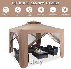 Tangkula 10x 10 Canopy Gazebo Tent Shelter Art Steel Frame Garden Lawn Patio H