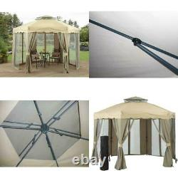 Tent Gazebo Shade Canopy Vented Double Roof Gilded Grove Steel Frame 12 x 12