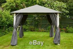 Vintage Grey Square Metal Garden Gazebo 2.5m Grey waterproof canopy inc curtains