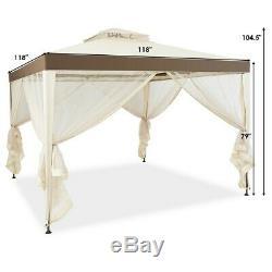 10' X 10' Extérieur Gazebo Cadre En Acier Ventilé Gazebo Avec Tente Beige Netting Pelouse