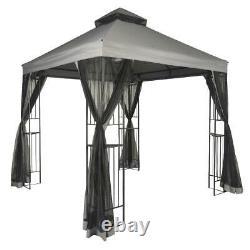 10 X 10 Extérieur Gris Canopy Garden Gazebo Steel Frame Black Mosquito Netting