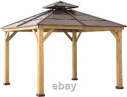 10 X 10 Hardtop Gazebo Cedar Encadré D'acier 2 Tier Hip Roof Sunjoy