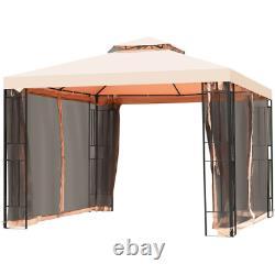 10' X 10' Outdoor Steel Frame Backyard Gazebo Canopy With Mosquito Netting Nouveau