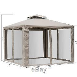 10 X 10 Patio Extérieur Gazebo Pavillon Canopy Tente Acier 2 Niveaux Avec Masque