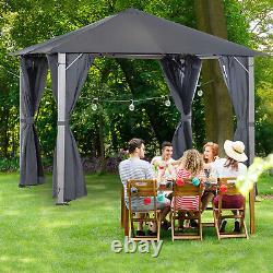 10' X 10' Patio Extérieur Soft Canopy Gazebo Canopy Steel Frame With Sidewall