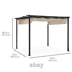 10 X 10 Pergola Kit Métal Frame Gazebo - Canopy Cover Patio Furniture Shelter