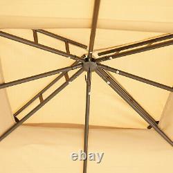 10' X 12' Patio Extérieur 2 Niveaux Toit Gazebo Canopy Steel Frame Avec Mesh Sidewalls