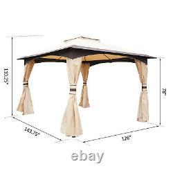 10' X 12' Patio Extérieur Toit À 2 Étages Gazebo Canopy Cadre En Acier Avec Parois Latérales Mesh