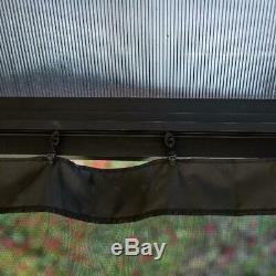 10 X 12 Pi. Kiosque Avec Polycarbonate Top Filet À Insectes Cadre En Acier Protection Uv