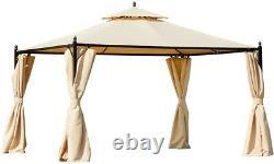 10'x12' Nouveau Gazebo Inutilisé Avec Beige Vented Soft Top Canopy & Steel Frame