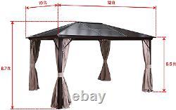 10'x12' Toile Rigide Extérieure En Polycarbonate Gazebo Rideaux De Canopie Cadre En Aluminium Nouveau