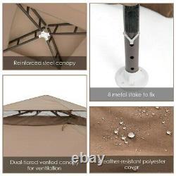 10x 10 Canopy Gazebo Tente Abri De Jardin Jardinet Withmosquito Net Café