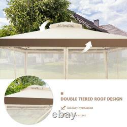 10x 10 Gazebo Auvent Tente Abri Withmosquito Netting Extérieur Jardinet Beige