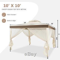 10x 10 Patio Auvent Gazebo Tente Abri Withmosquito Netting Cadre En Acier Beige