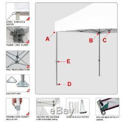 10x10 Blanc Commercial Ez Pop Up Canopy Extérieur Gazebo Tente Pliante Vendor Événement