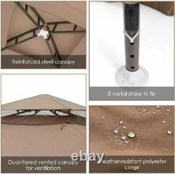 10x10 Canopy Gazebo Tente Art Steel Frame Patio Garden Withmosquito Netting Brown